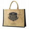 Custom printed large burlap handbag