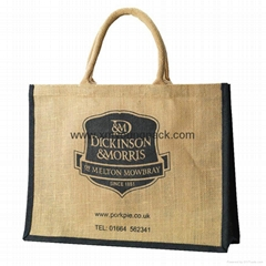 Custom printed large burlap handbag reusable jute carrier bag tote jute bags