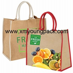 Wholesale custom printed large reusable jute shopping carrier bags