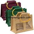 Wholesale custom printed large reusable jute shopping carrier bags