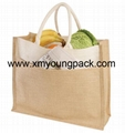 Custom printed small two tone jute hessian carry bag