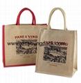 Custom printed small two tone jute hessian carry bag