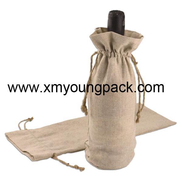 Promotional custom hessian jute wine gift bag 8