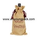 Promotional custom hessian jute wine gift bag 2