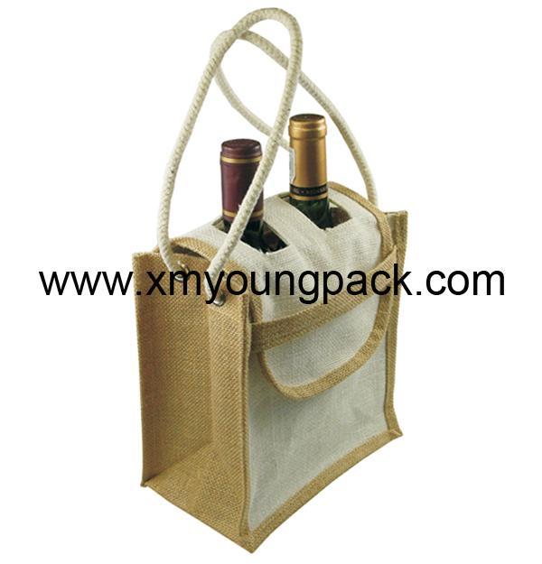 Promotional custom hessian jute wine gift bag 7