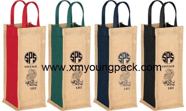 Promotional custom hessian jute wine gift bag 15