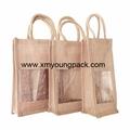 Promotional custom hessian jute wine gift bag 5