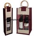 Promotional custom hessian jute wine carry bag 5