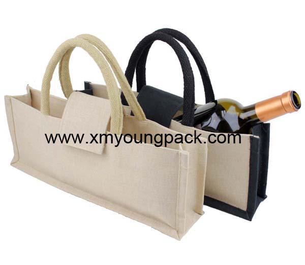 Promotional custom hessian jute wine carry bag 7