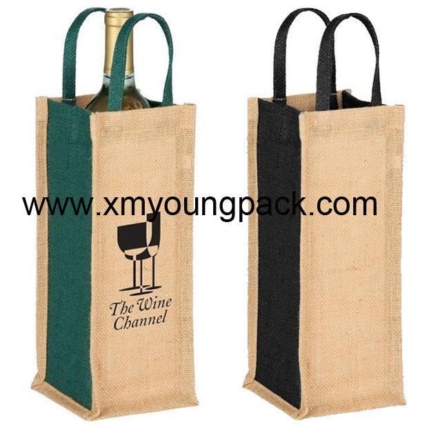 Promotional custom hessian jute wine carry bag