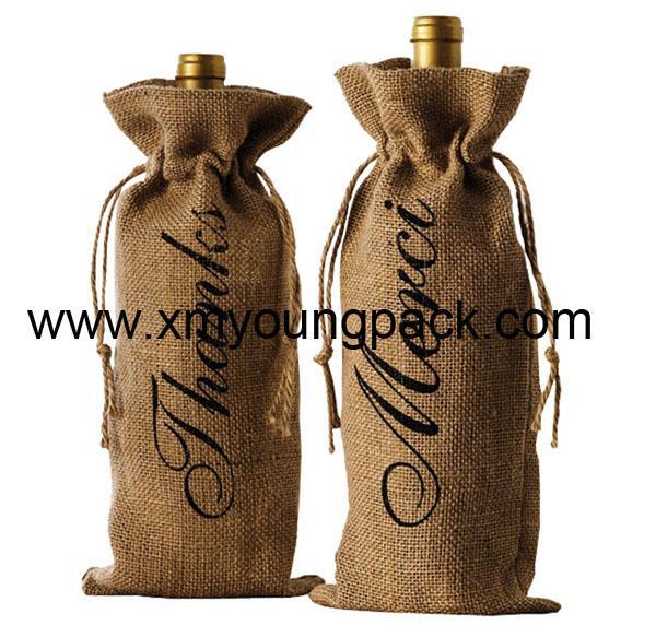 Promotional custom hessian jute wine carry bag 4