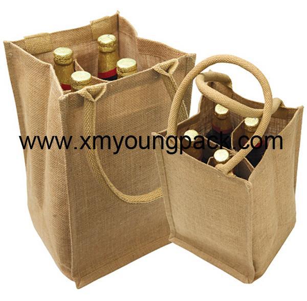 Promotional custom hessian jute wine carry bag 10