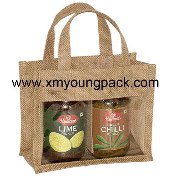 Promotional custom hessian jute wine carry bag 12