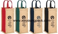 Promotional custom hessian jute wine carry bag 16
