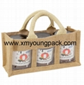 Promotional custom hessian jute wine carry bag