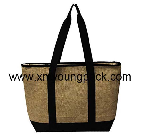 Promotional custom small insulated jute hessian lunch cooler bag 5