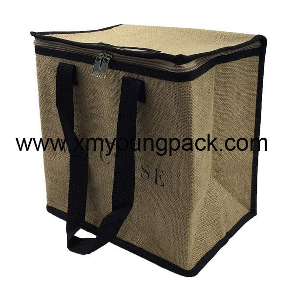 Promotional custom small insulated jute hessian lunch cooler bag 3