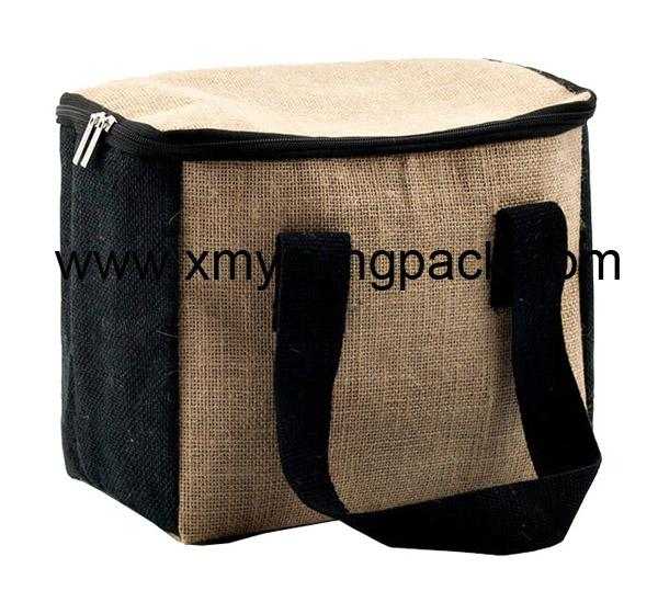 Promotional custom small insulated jute hessian lunch cooler bag 1