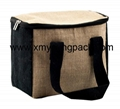 Promotional custom small insulated jute hessian lunch cooler bag