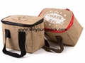 Promotional custom small insulated jute hessian lunch cooler bag 6