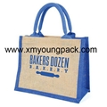 Promotional custom small insulated jute hessian lunch cooler bag 11