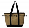 Promotional custom large reusable insulated jute cooler bags 5
