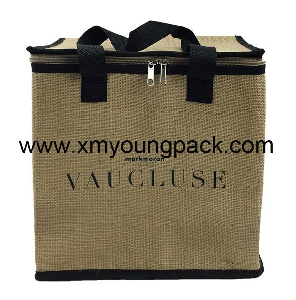 Promotional custom large reusable insulated jute cooler bags 1