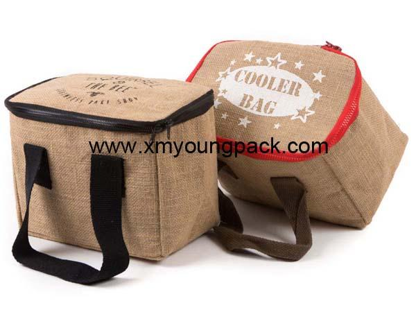 Promotional custom large reusable insulated jute cooler bags 6