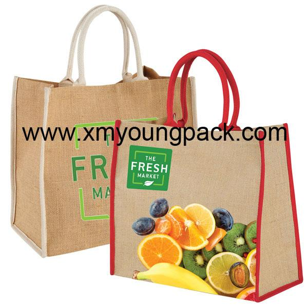 Promotional custom large reusable insulated jute cooler bags 7