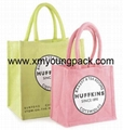 Promotional custom large reusable insulated jute cooler bags 12