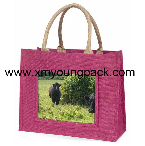 Promotional custom large reusable insulated jute cooler bags 15
