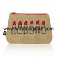 Custom printed small overlock burlap jute hessian pouch 9
