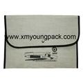 Custom printed small overlock burlap jute hessian pouch 10