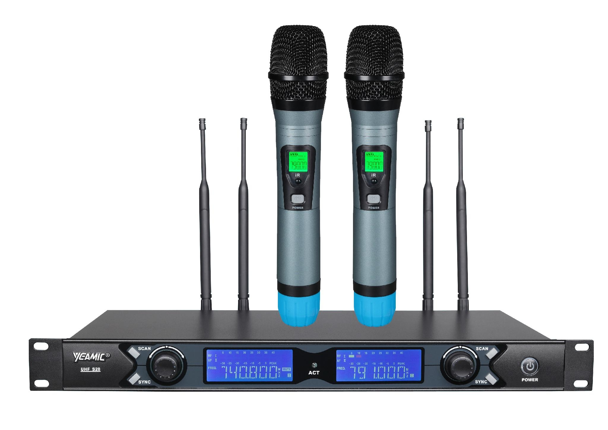 wireless microphone 2 channel cordless lapel mics remote dynamic mic for sale s20 h5 yeamic. Black Bedroom Furniture Sets. Home Design Ideas