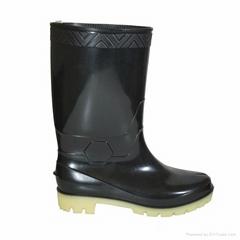 black knee high  rubber rain boots
