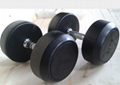 Logo Available Gym Fitness Dumbbell / Round Rubber Dumbbells For Gym Exercises