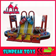 OB-053 Cool Racing Car With Stair Slide Giant Inflatable Obstacle Course