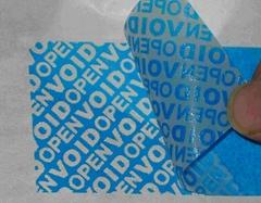 蓝色VOID防伪不干胶标签