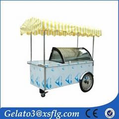 Mobile slide glass door ice cream cart gelato cart B4