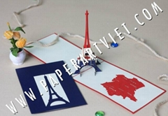 3D Greeting card Architecture Eiffel Tower