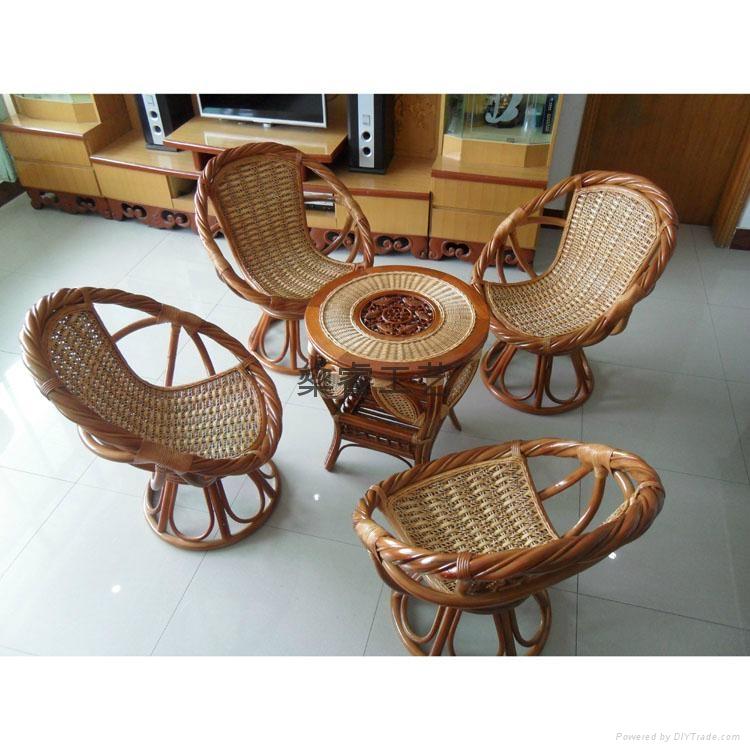 天然真藤椅 天然藤 阳台扶手转椅 庭院阳台、户外扭藤转椅 1