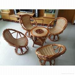 天然真藤椅 天然藤 陽台扶手轉椅 庭院陽台、戶外扭藤轉椅