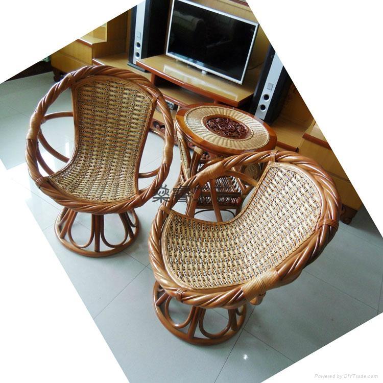 天然真藤椅 天然藤 阳台扶手转椅 庭院阳台、户外扭藤转椅 3