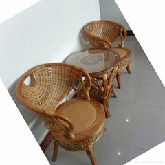 厂家直销天然藤椅阳台编藤桌椅户外庭院休闲家具公主椅三件套