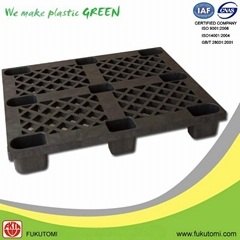 Recycled Plastic Nine-Feet Single Face Pallet black R02
