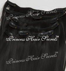 Clip in Human Hair Extensions #01_jet black Can be customized