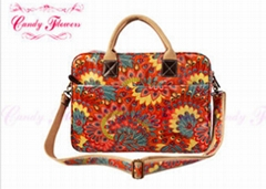 Ladies Peacock feather Floral Canvas Bag Laptop Computer Briefcase
