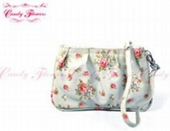 Fashion Mint Green Small Floral Zippered Coin Purse wallet for women