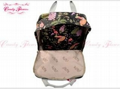 Large Black Birds Flower Print Backpack