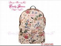 Fashion white Flower Print Backpack travelling rucksacks for women